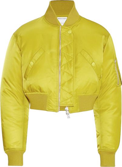 Bottega Veneta Yellow Cropped Bomber Jacket