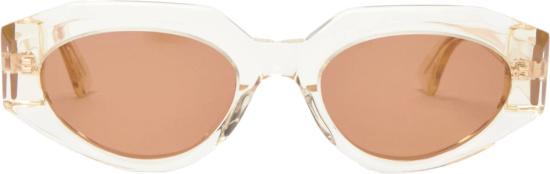 Bottege Veneta Orange Clear Cat Eye Sunglasses