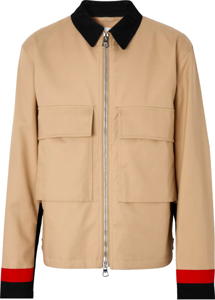 Burberry Beige And Contrast Trim Field Jacket