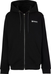 Check-Panel Black Zip Hoodie