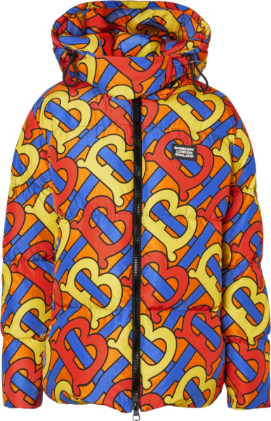 Burberry Allover Logo Print Orange Puffer Jacket