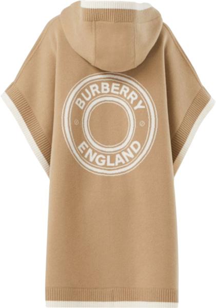 Burberry Beige And White Logo Jacquard Cape