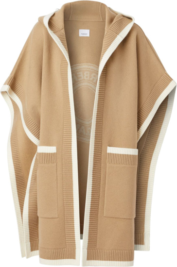 Burberry Beige And White Trim Hooded Cape
