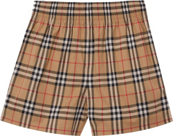 Burberry Beige Check And Black Stripe Shorts