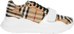 Beige Check & White 'Regis' Sneakers