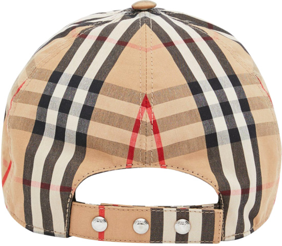 Burberry Beige Check Tb Logo Hat