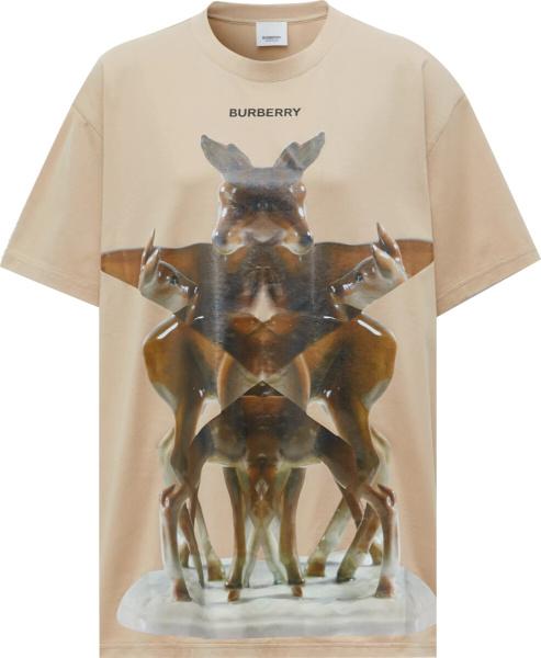 Burberry Beige Kaleidoscope Deer T Shirt
