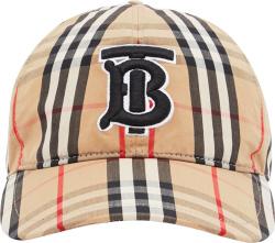 Beige Check & TB-Logo Hat