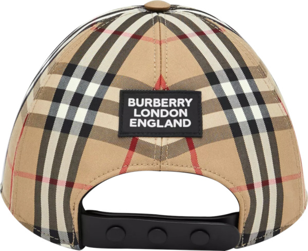 Burberry Beige Vintage Check Logo Plaque Hat