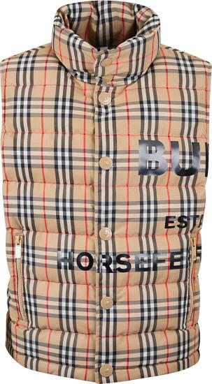 Burberry Beige Vintage Check Logo Print Puffer Vest