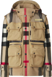 Burberry Beige Wool Check And Detachable Vest Coat