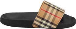 Burberry Black And Beige Vintage Check Furley Slides