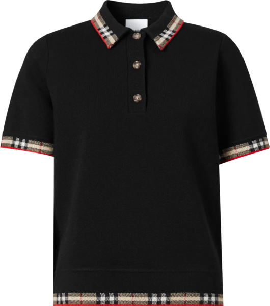 Burberry Black And Check Trim Lola Polo