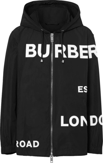 Burberry Black And White Horseferry Print Allover Logo Hooded Jacket