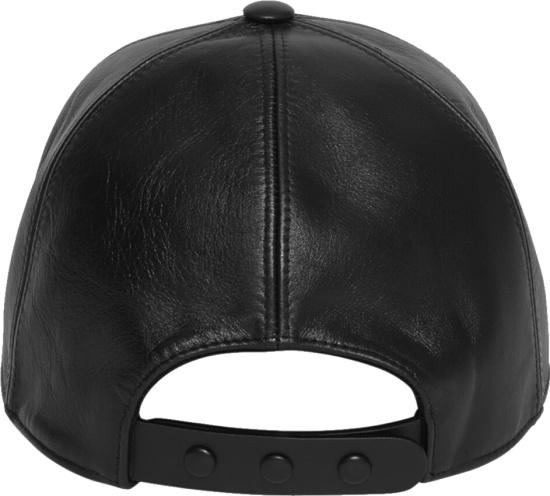 Burberry Black Leather Tb Logo Hat