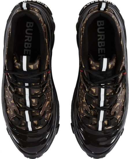 Burberry Black Monogram Canvas And Black Rubber Sneakers