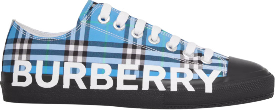 Burberry Blue Check Logo Print Low Top Sneakers
