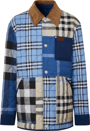 Burberry Blue Check Patchwork Quilted Jacket