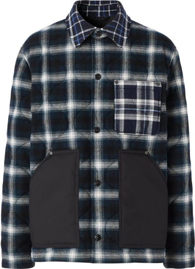 Burberry Blue White Check Quilted Overshirt