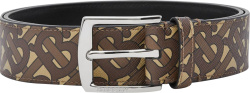 Burberry Brown Monogram Silver Buckle Belt
