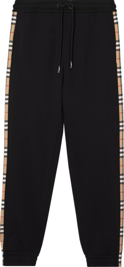 Burberry Check Panel Black Joggers