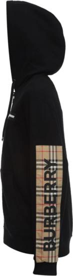 Burberry Check Panel Black Zip Up Hoodie