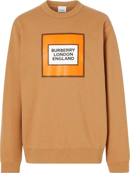 Burberry Frame Logo Print Brown Sweatshirt