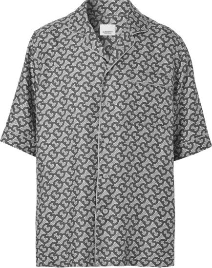 Burberry Grey Allover Tb Monogram Print Silk Shirt