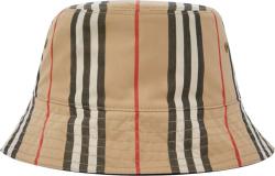 Burberry Icon Stripe Beige Bucket Hat