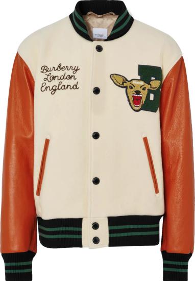 Burberry Ivory And Orange Deer Varsity Jacket