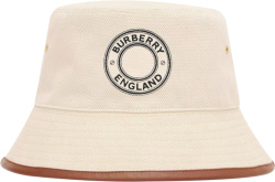 Burberry Ivory Canvas Brown Leather Trim Buket Hat