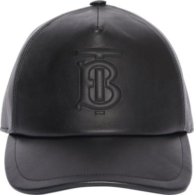 Burberry Logo Embossed Black Leather Hat