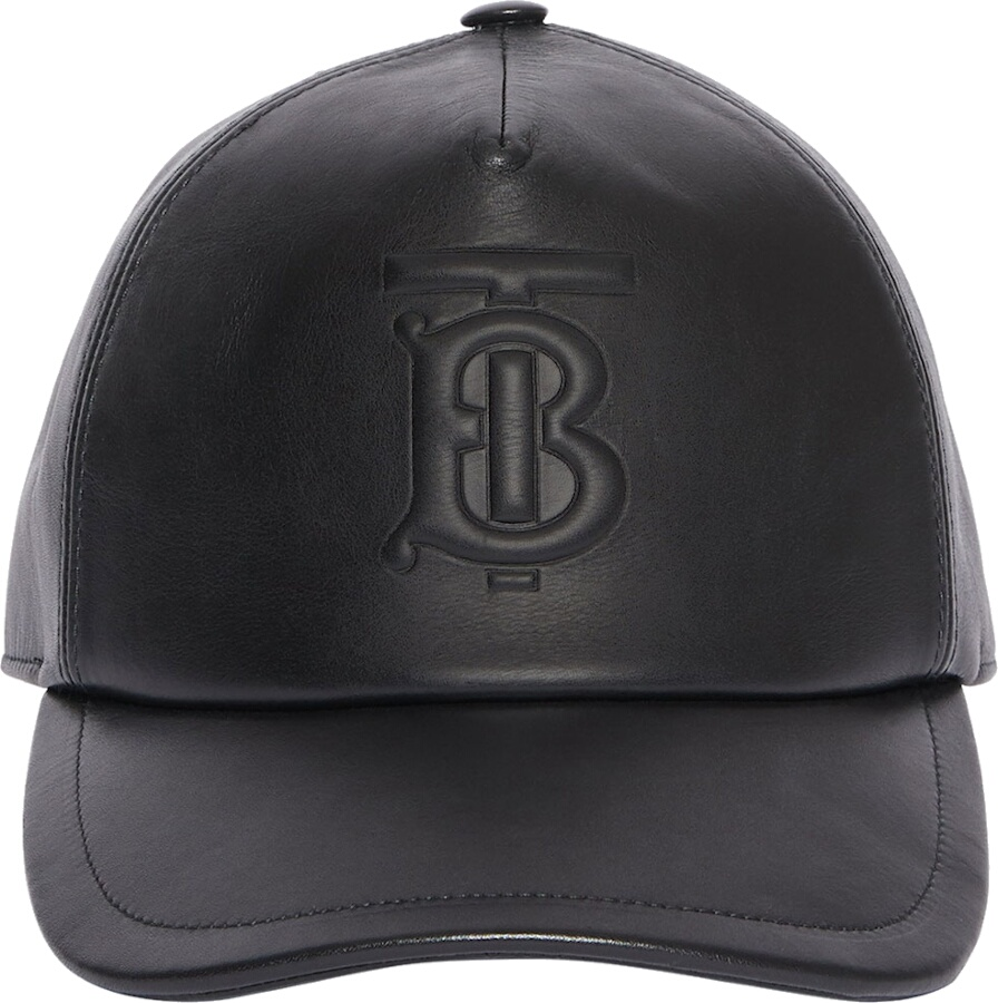 Burberry Logo Embossed Black Leather Hat
