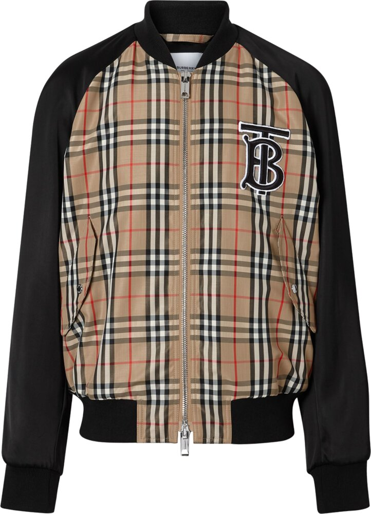 Burberry Logo Patch Check Track Jacket