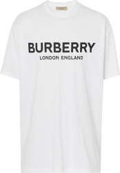 Burberry Logo Print White T Shirt
