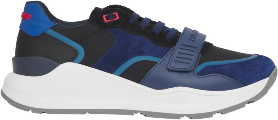 Burberry Navy And Light Blue Strap Sneakers