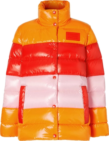 Burberry Orange Red And Pink Striped Puffer Jacket