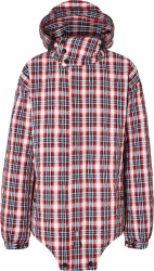 Burberry Red Black White Check Diamond Quilted Hem Jacket