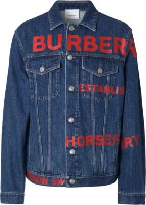 Burberry Red Logo Print Denim Jacket