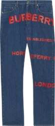 Burberry Red Logo Print Jeans