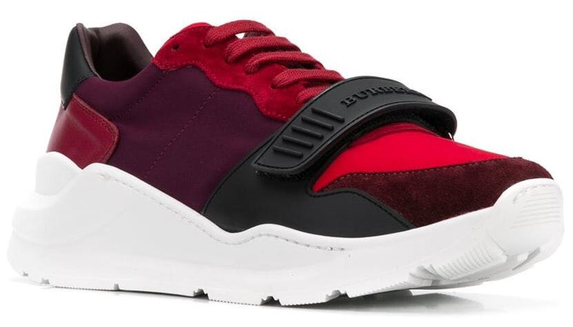 Burberry Red Sneakers With White Soles And A Black Strap