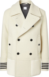 Striped Cuff Double-Breasted White Coat