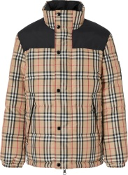 Burberry Vintage Check Beige Puffer Jacket