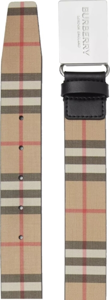 Burberry Vintage Check Belt With Plaque Buckle