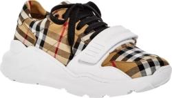 White & Beige Check 'Regis' Sneakers