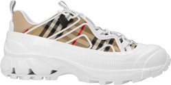 Burberry White And Biege Check Arthur Sneakers