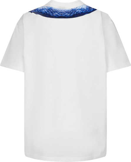 Burberry White And Blue Mermaid Tail Print T Shirt