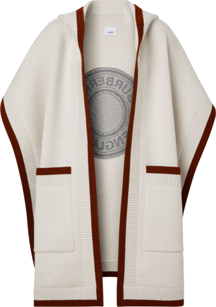 Burberry White And Brown Trim Hooded Cape