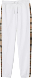 Burberry White And Check Panel Sweatpants