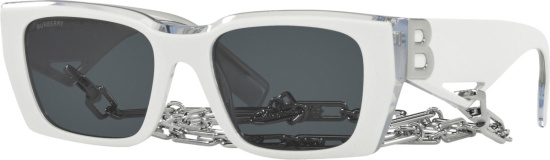 Burberry White And Silver Tone Chain Sunglasses